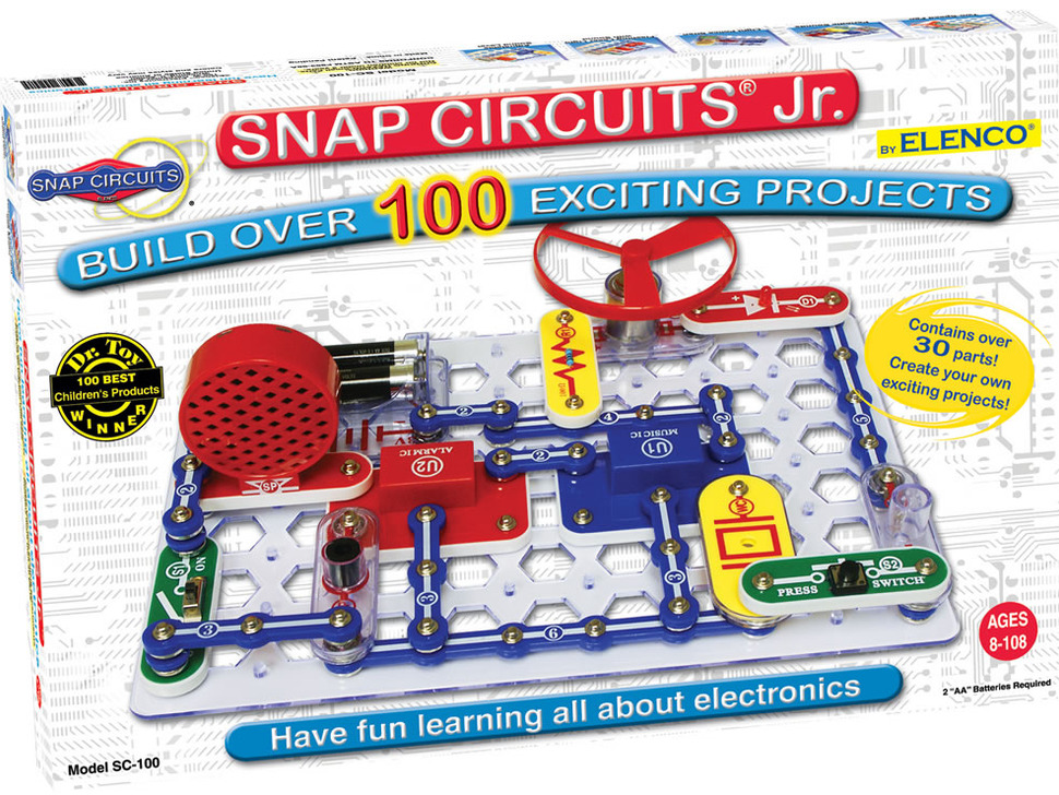 Outer box packaging with SNAP CIRCUITS Jr - BUILD OVER 100 EXCITING EXPERIMENTS on front