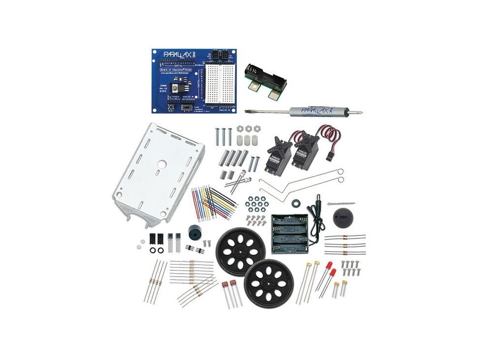 Loose collection of components - wheels, screws, metal body of robot, etc.