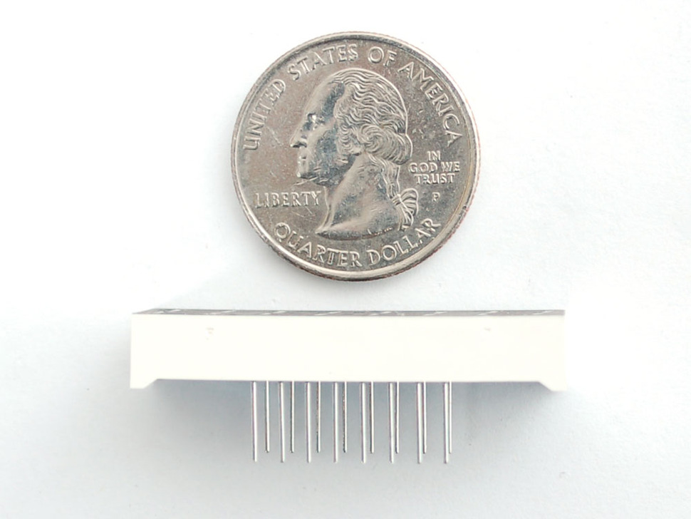 Profile of LED module next to quarter