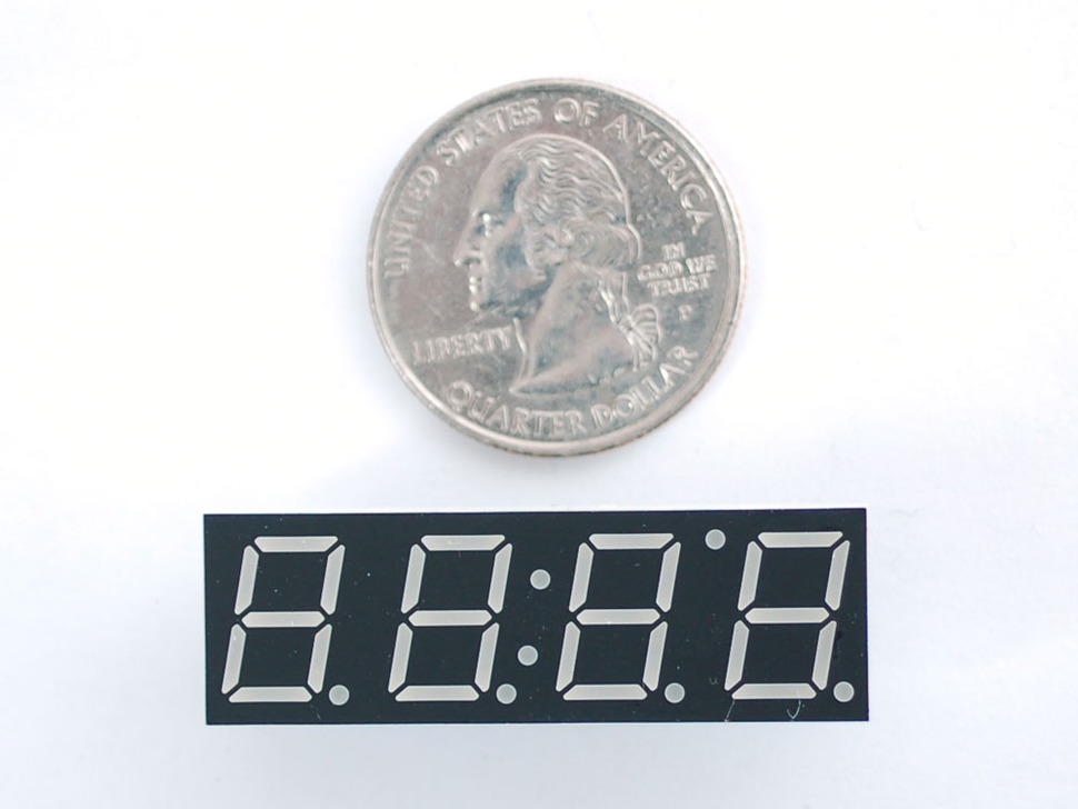 "Red 7-segment clock display - 0.39"" digit height"