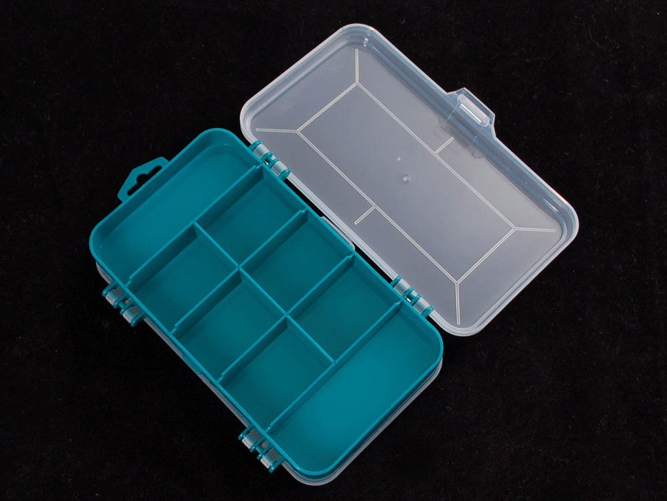 One side of storage box, with 8 compartments