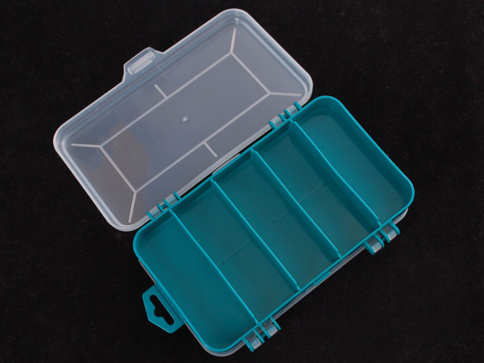 Other side of storage box, with 5 larger compartments