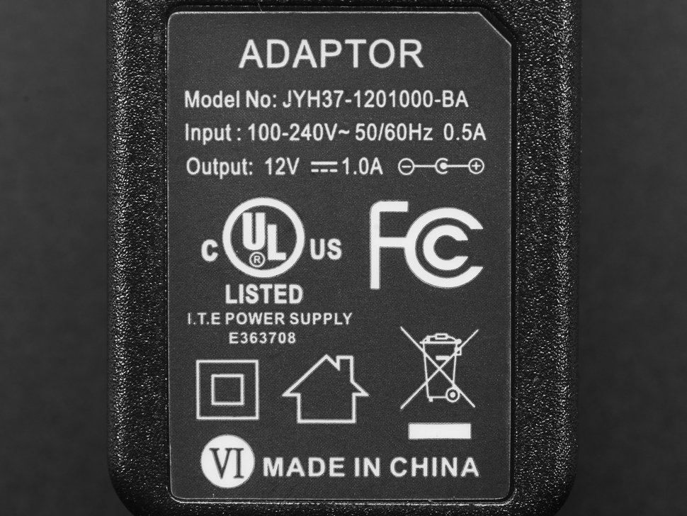 12V DC 1000mA (1A) regulated switching power adapter - UL listed