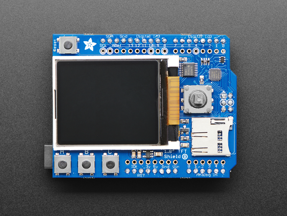 "Adafruit 1.8"" Color TFT Shield w/microSD and Joystick"