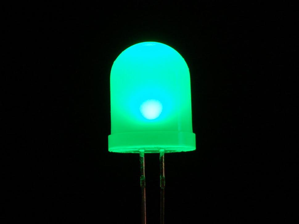 Single large LED lit up green