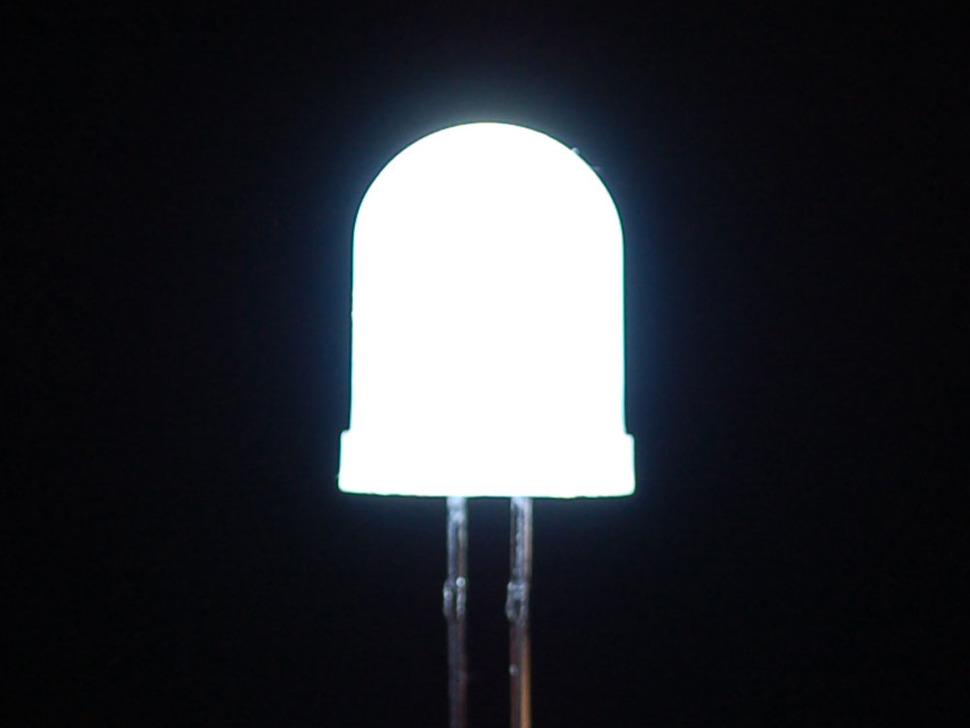 Single large LED lit up white
