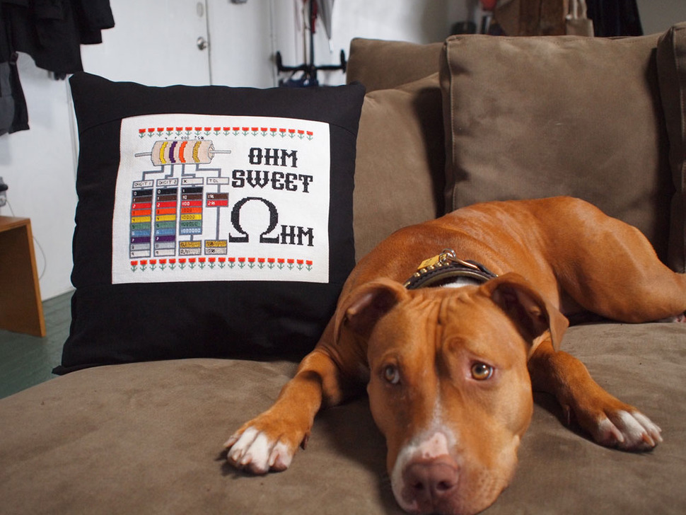Pillow with cross-stich sewn into it, next to dog