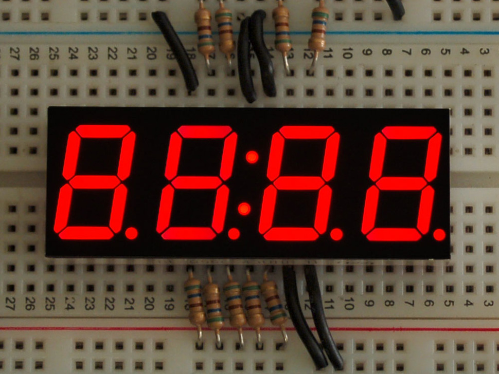 Red 7-segment clock display - 0.56