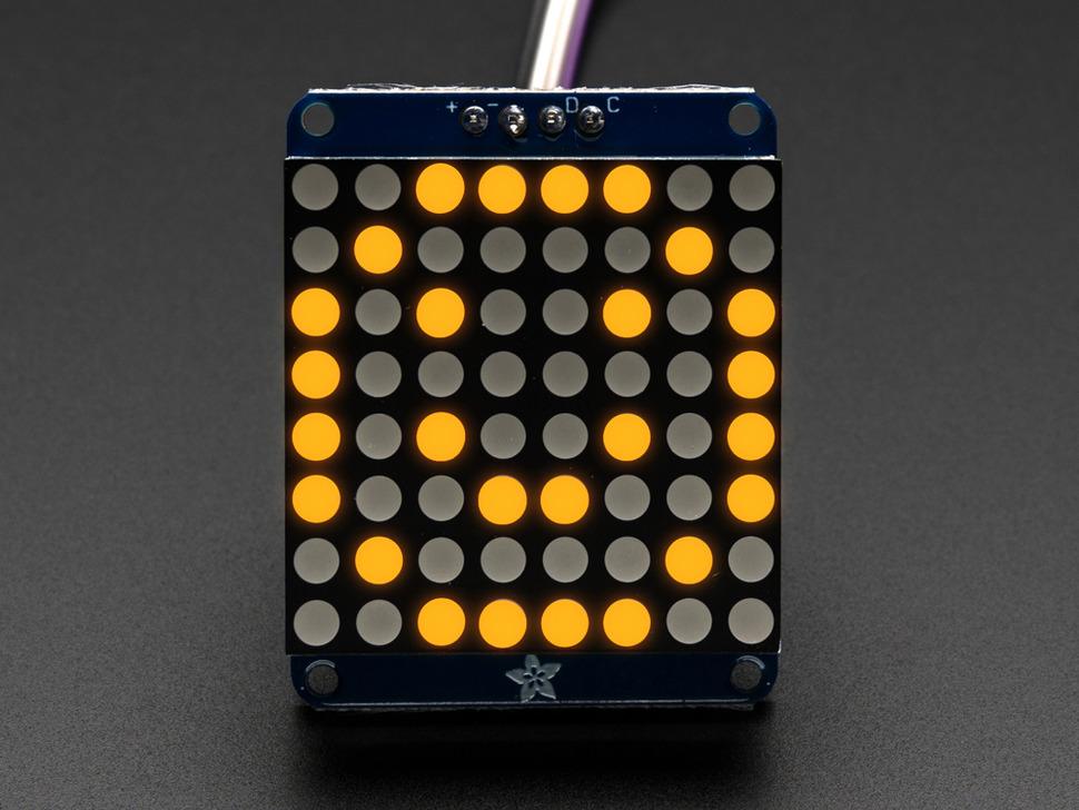 Adafruit Mini 8x8 LED matrix w/I2C Backpack- Yellow.