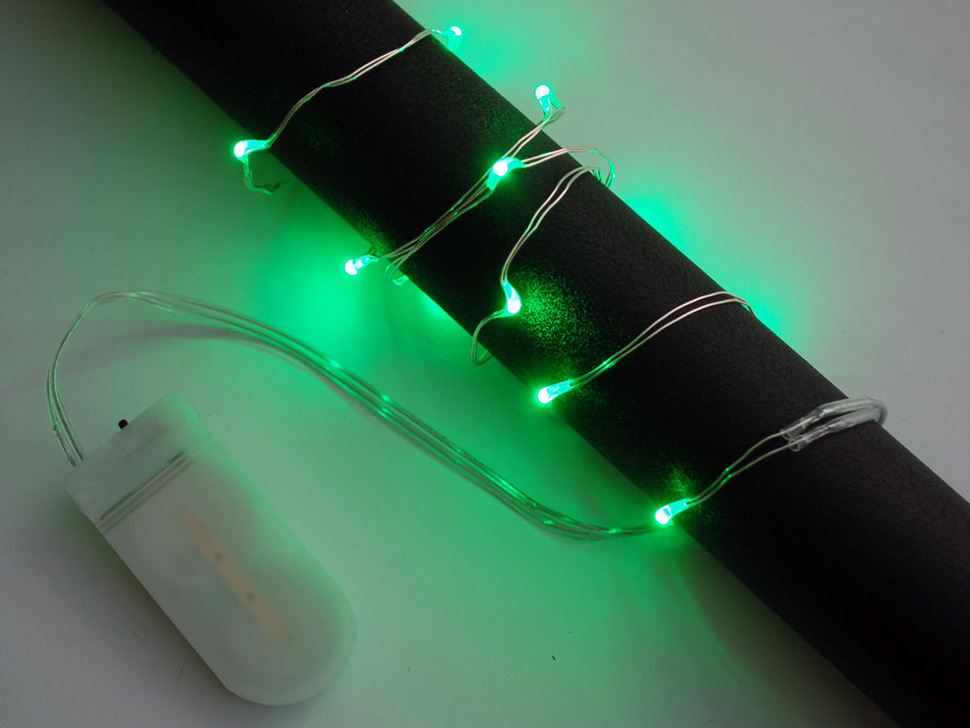 Wire Light LED Strand - 10 Green LEDs + Coin Cell Holder
