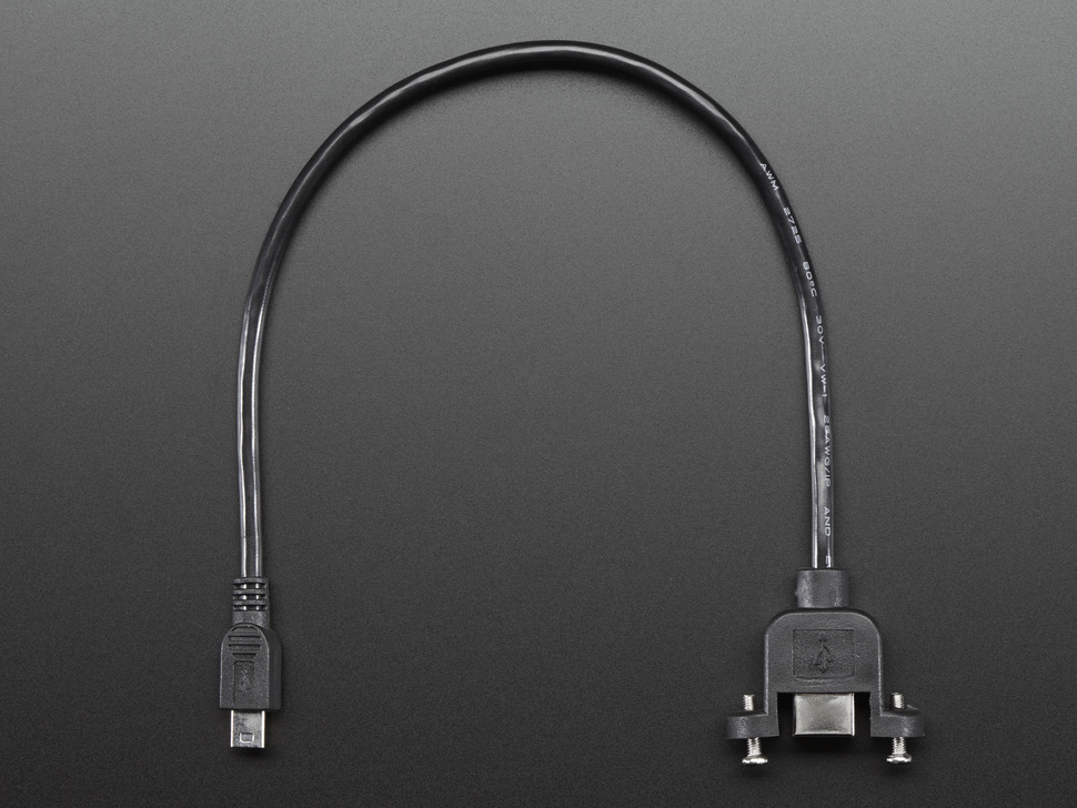 Panel Mount USB Cable - B Female to Mini-B Male