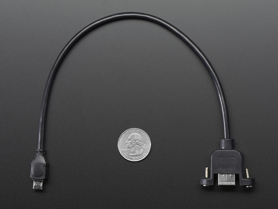 Panel Mount USB Cable - B Female to Micro-B Male