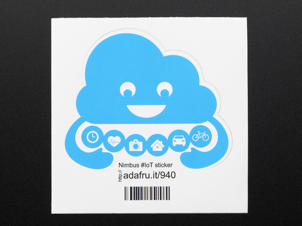 Sky blue Cloud shape sticker with arms that display a hug containing a row of six small circles that display a clock, heart, camera, house, car and a bike.