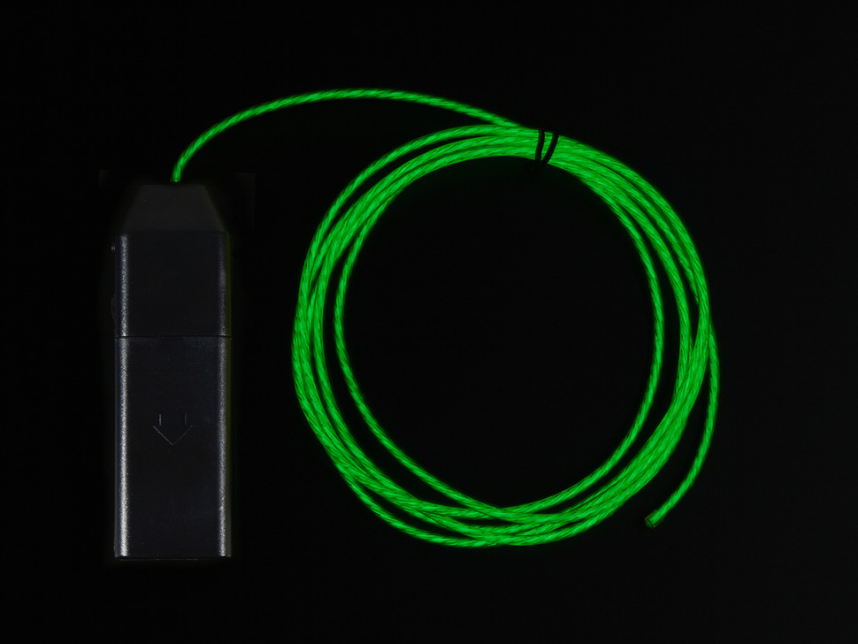 EL Flowing Effect Wire with Inverter - Green 2.0 meter (6.5 ft)