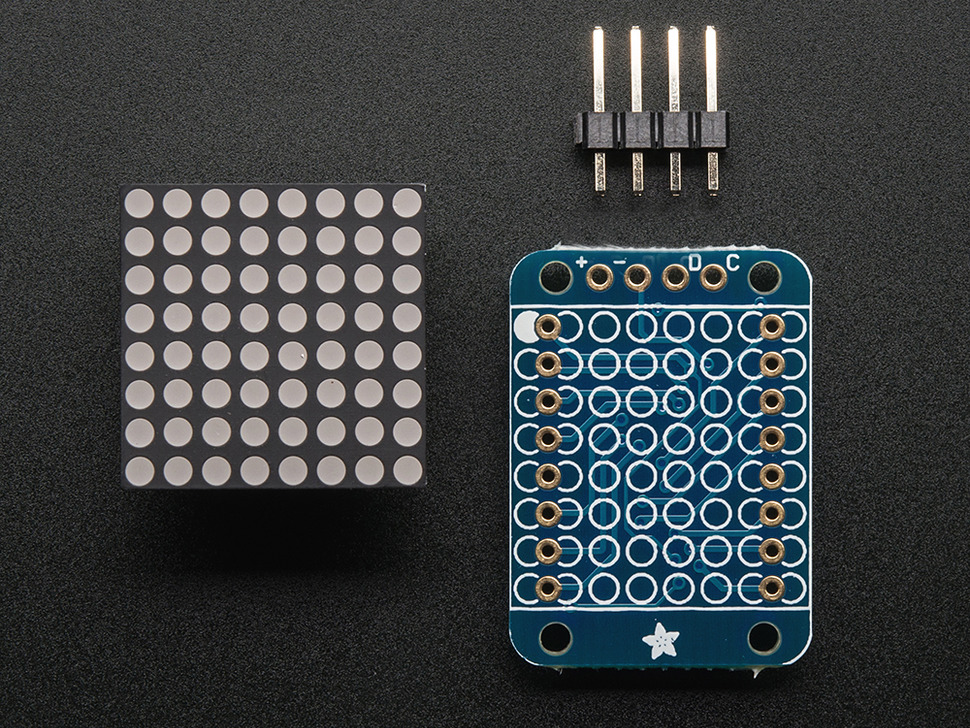 Adafruit Mini 8x8 LED Matrix w/I2C Backpack - Blue