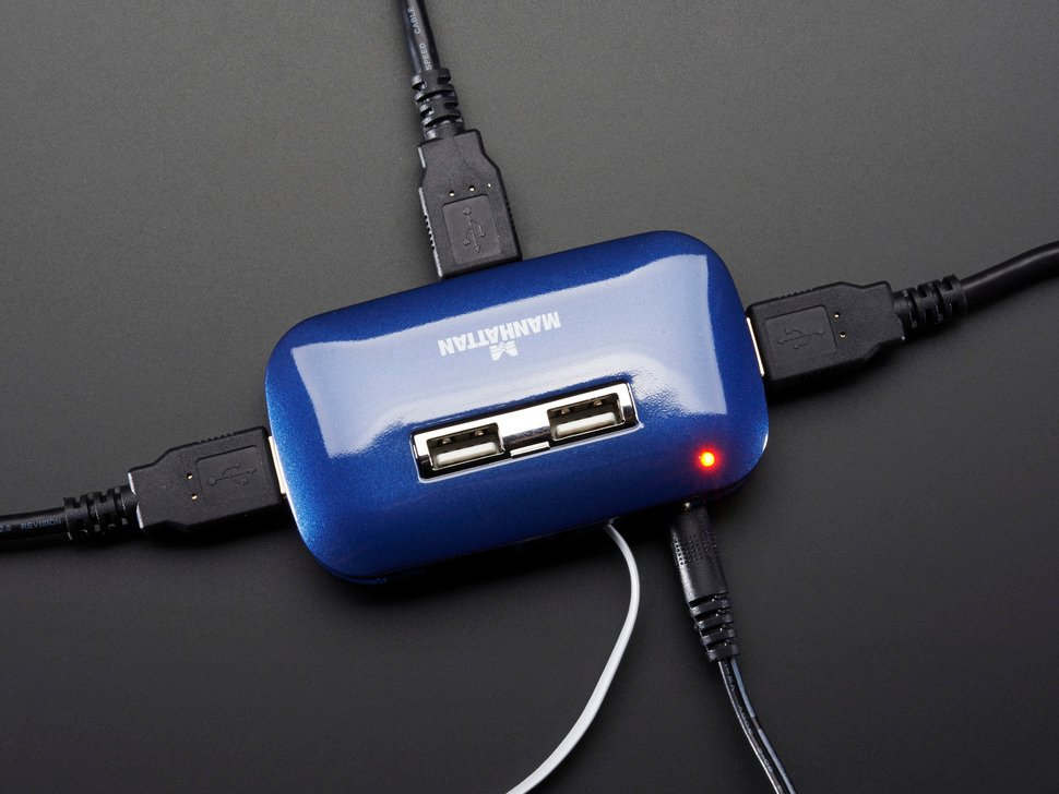USB 2.0 Powered Hub - 7 Ports with 5V 2A Power Supply
