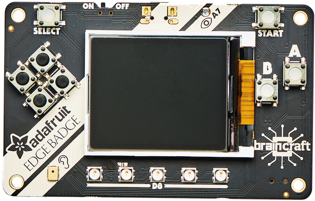 Top view of a credit card-sized Machine Learning board with a blank graphic TFT screen.