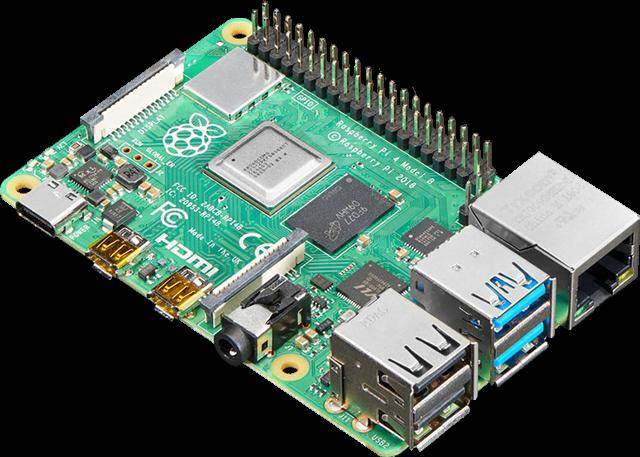 Top view of a Raspberry Pi 4 Model B