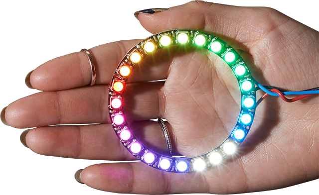 NeoPixel Ring in the palm of an open hand