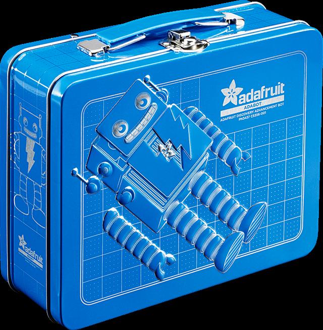 A blue metal lunchbox featuring Adabot