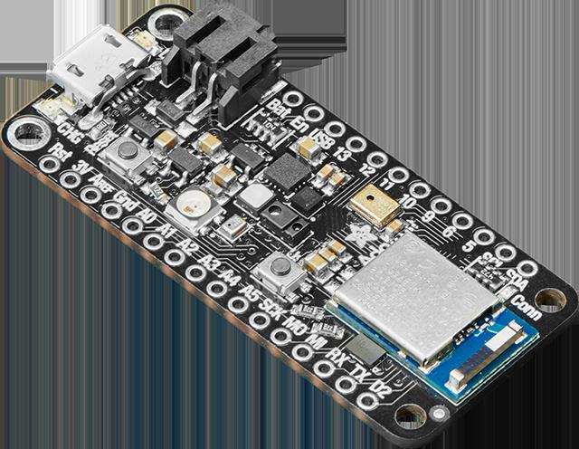 Top view of an Adafruit Feather nRF52840 Sense board