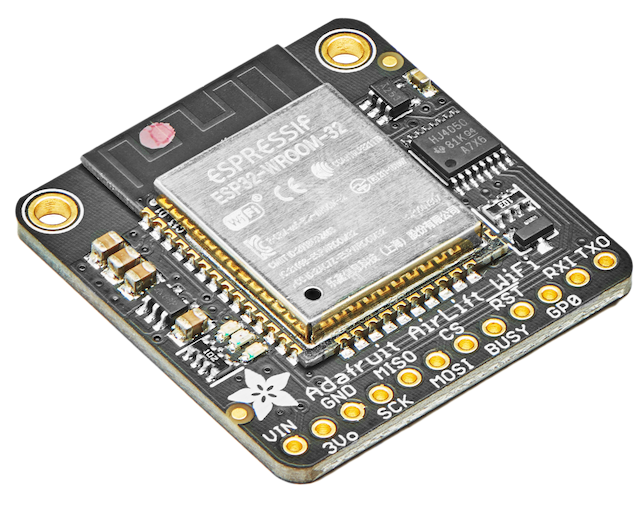 Angled shot of WiFi breakout board with an ESP32 module.