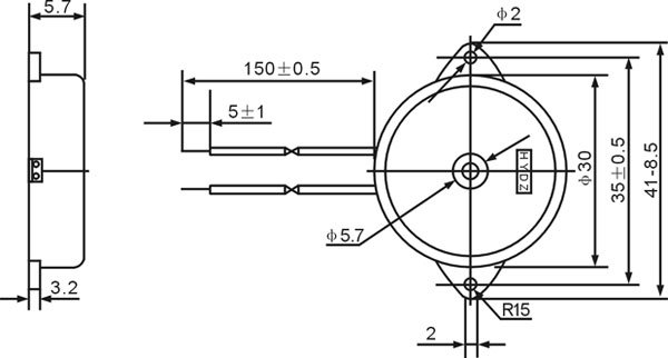 large enclosed piezo element w  wires id  1739