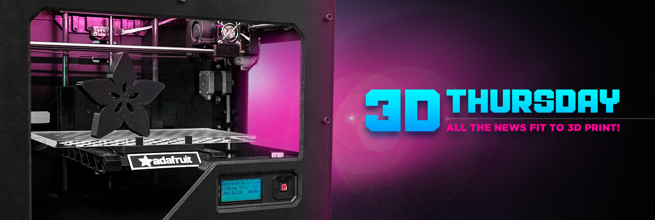 3D Thursday. All the news fit to 3d print! Angled shot of a 3d printer with a finished Adafruit star flower logo.