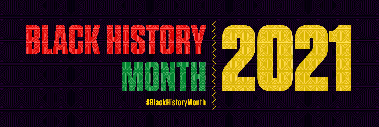 Black History Month 2021 on the Adafruit Blog. Red Green and Yellow text on black background.