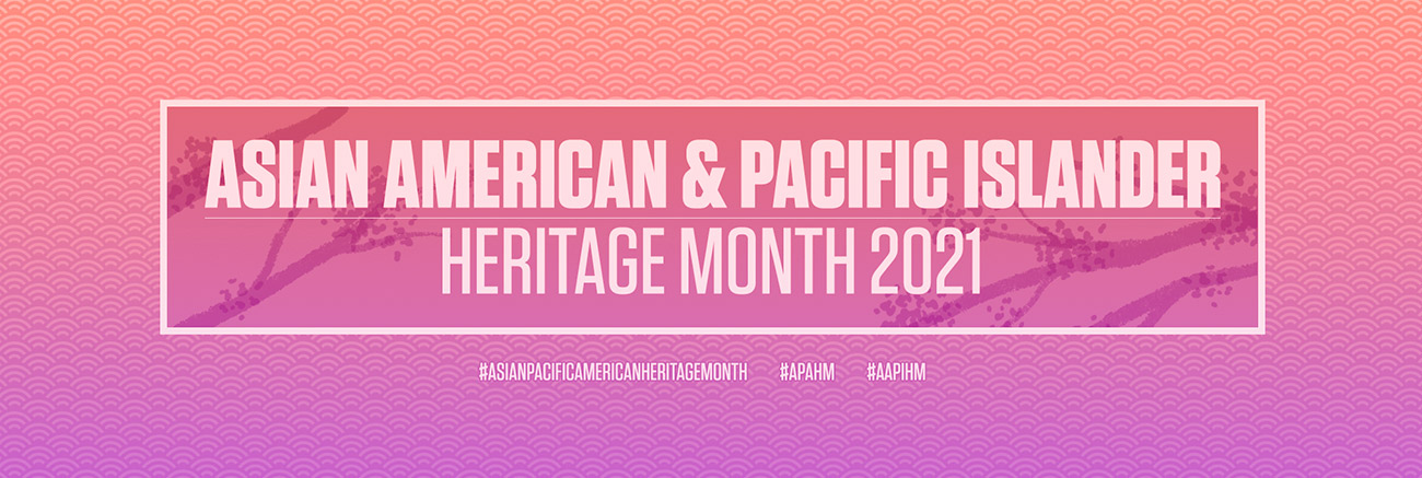 Celebrate Asian American and Pacific Islander Heritage Month. Bold lettering with floral tree branches all set in light purple tones.