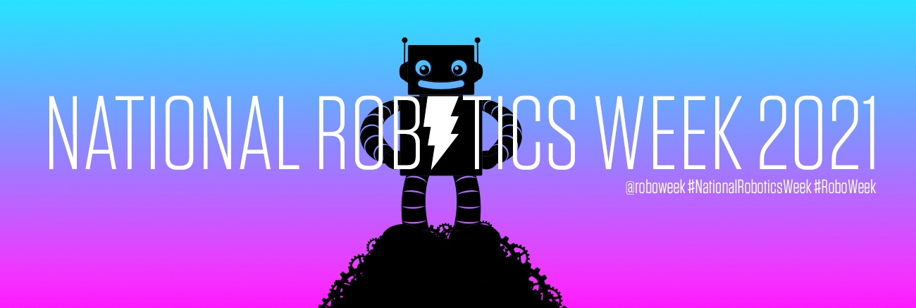 Celebrate National Robotics Week 2021 with Adafruit. Silhouette of AdaBot standing triumphantly on a mound of gears with a magenta and aqua background.
