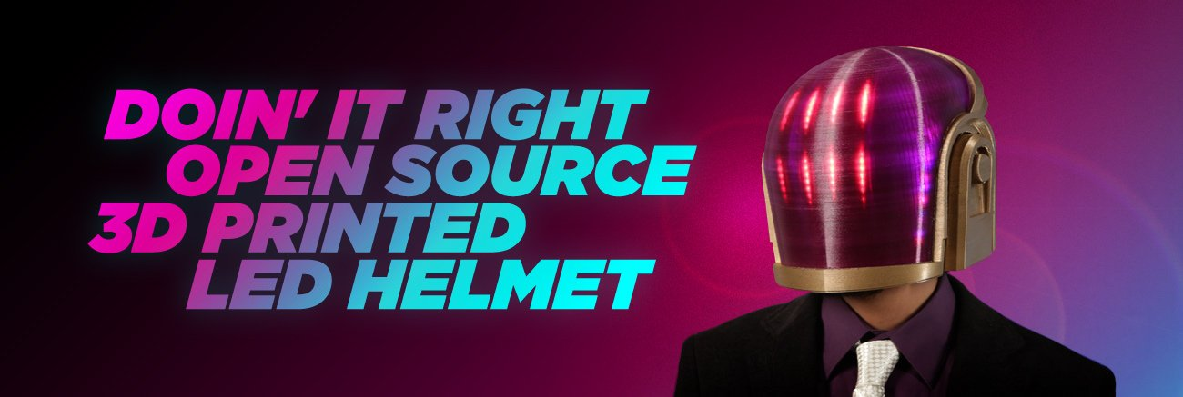 Doin' it right. Open source 3d printed LED helmet. A man in a business coat and tie wears a red-purple LED helmet that covers his entire head.