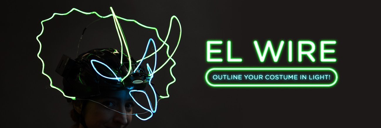 El wire. Outline your costume in light! A woman wears a bicycle helmet fitted with colorful el wire in the shape of a dinosaur.