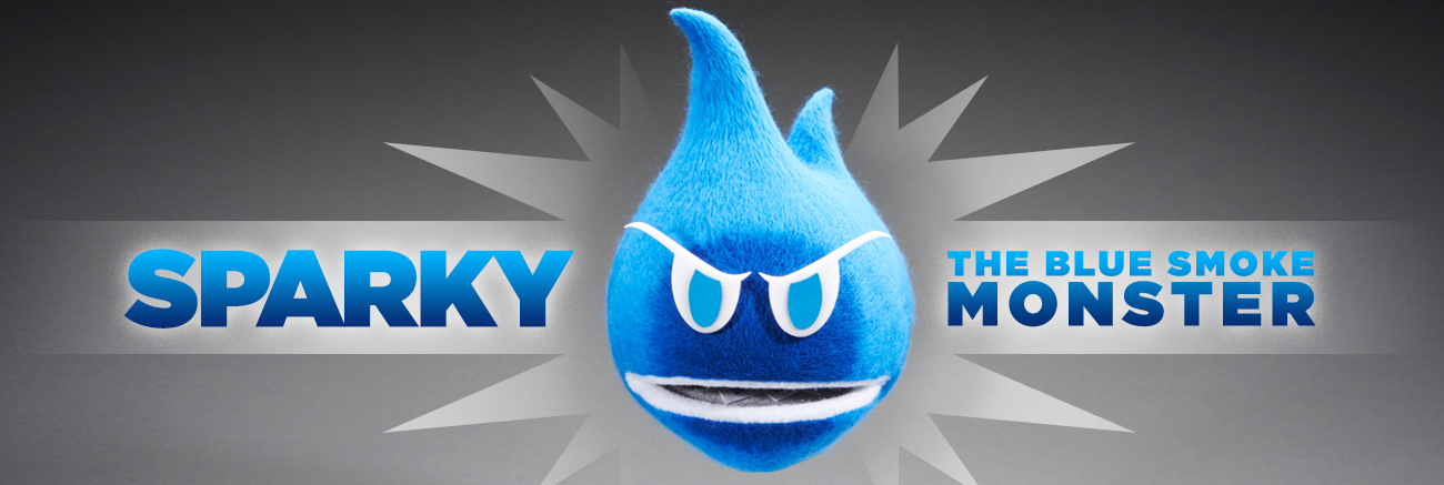 Sparky, the blue smoke monster. A mean-looking monster comprised of blue smoke.