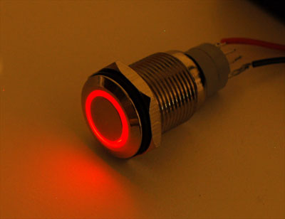 Waterproof Metal Pushbutton with Red LED Ring