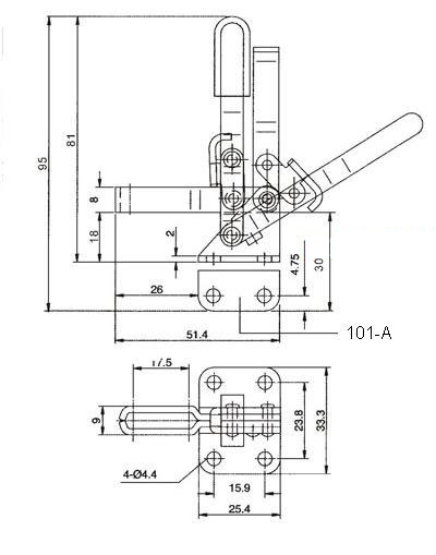 toggle clamp - medium flip-up style id  2456