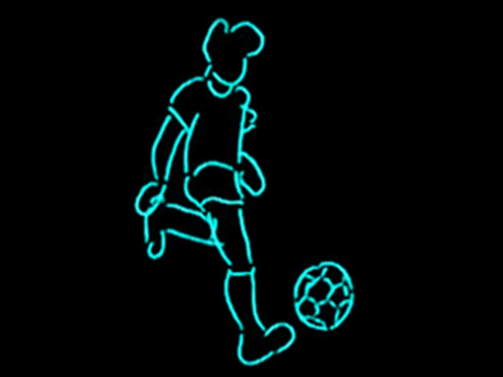 stop motion animation of EL-wire figure kicking a soccer ball