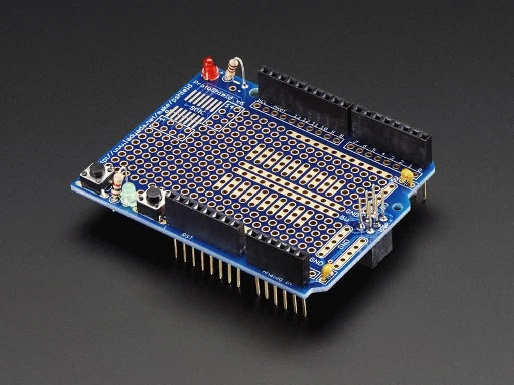 Adafruit Proto Shield For Arduino Unassembled Kit Stackable In Pdf And Eagle Formats The Schematic As Well Led Version R3