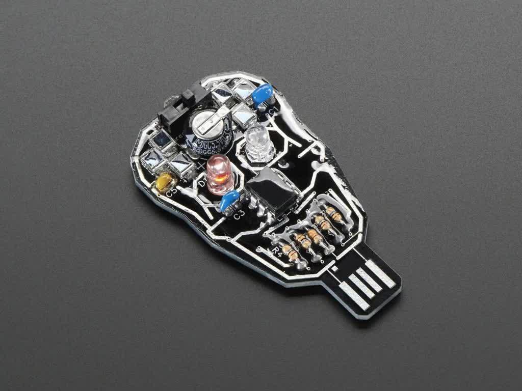Assembled Solar Powered SKULL Blinky LED Pendant Kit, with LEDs blinking