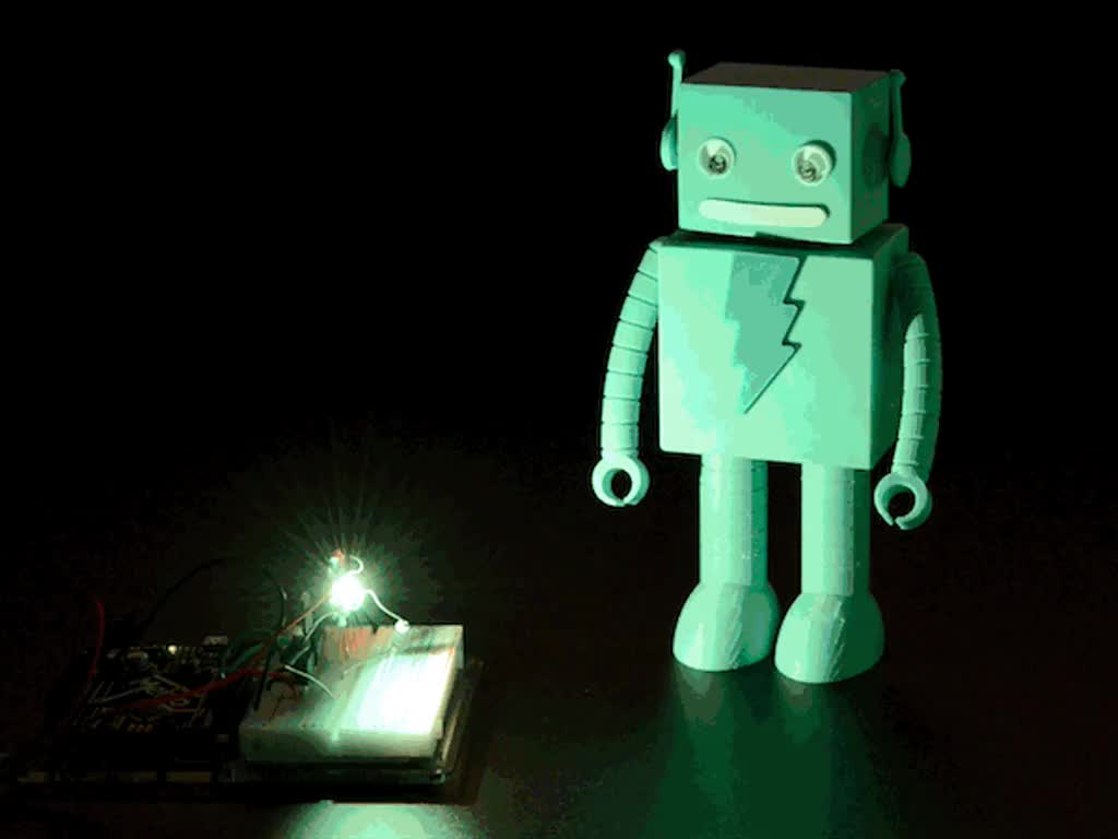 Very bright LED bathing robot figuring in rainbow light