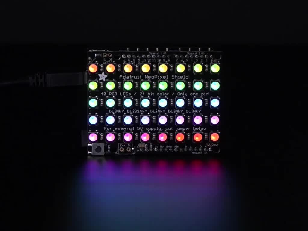 Adafruit NeoPixel Shield for Arduino - 40 RGB LED Pixel Matrix lit up rainbow and white