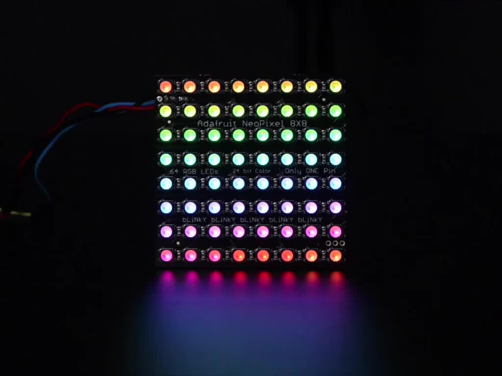 Adafruit NeoPixel NeoMatrix 8x8 - 64 RGBW LED Pixel Matrix lit up rainbow and white