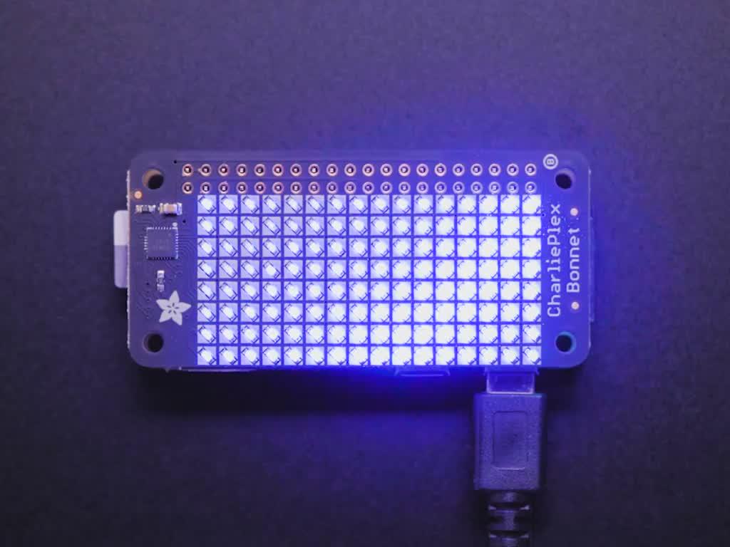 Adafruit CharliePlex LED Matrix Bonnet - 8x16 Blue LEDs