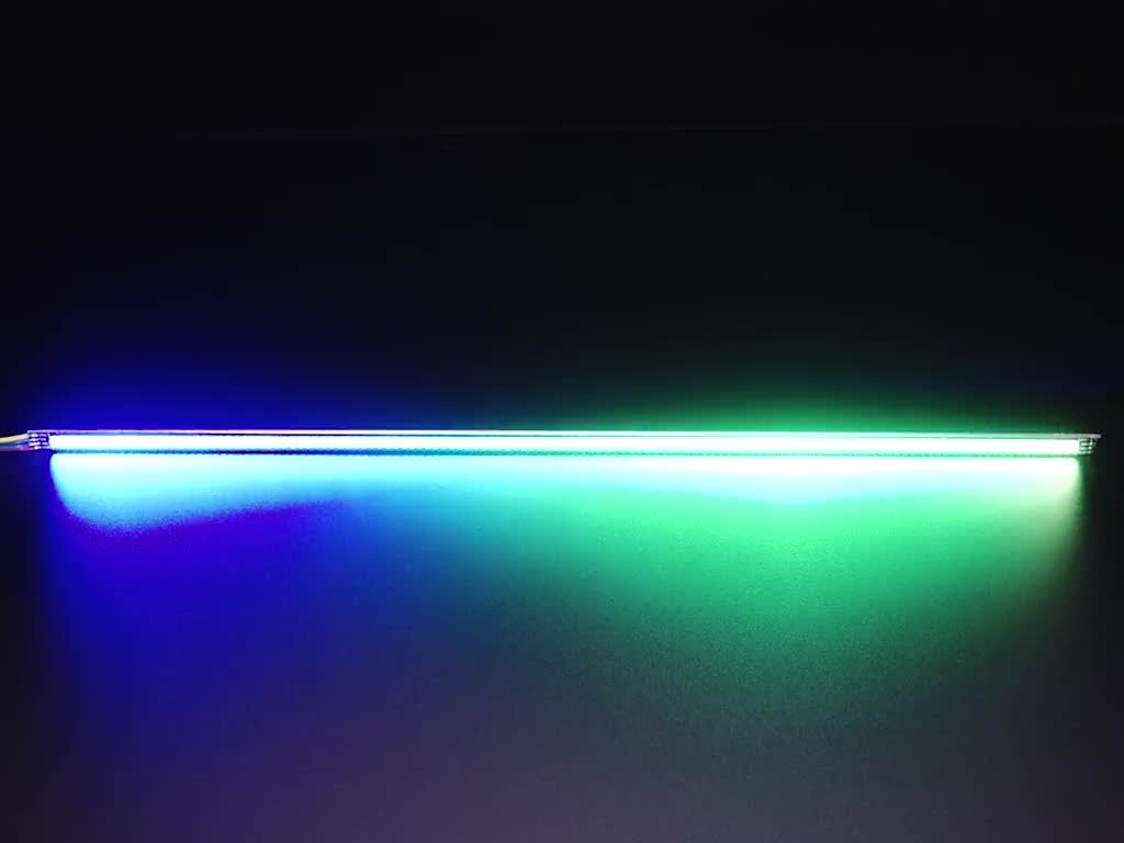 Very thin PCB with bright LEDs changing rainbow colors