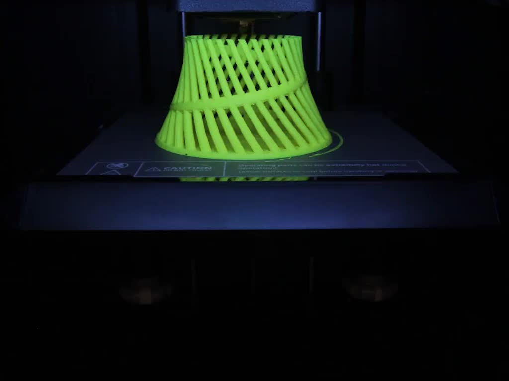 Timelapse of printer creating a helical print
