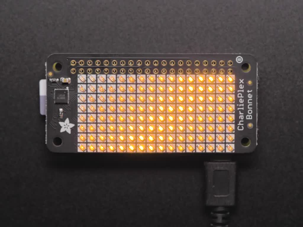 Adafruit CharliePlex LED Matrix Bonnet - 8x16 Yellow LEDs