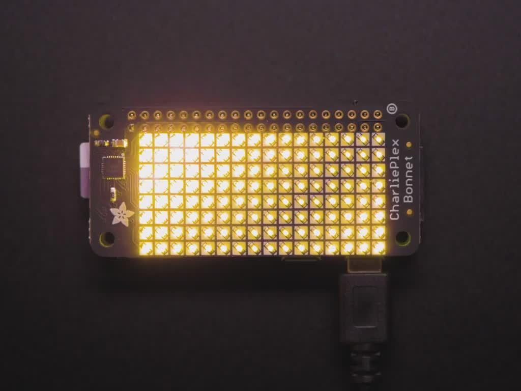 Adafruit CharliePlex LED Matrix Bonnet - 8x16 Warm White LEDs
