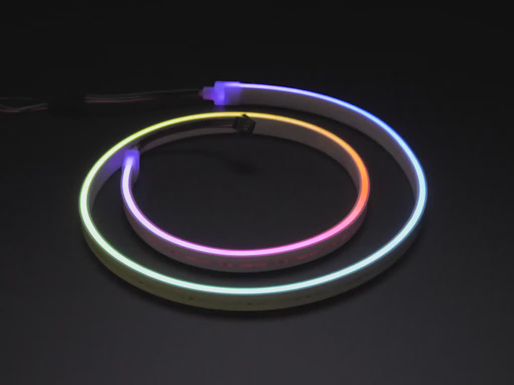 Flexible Silicone Neon-like Skinny NeoPixel LED Strip lit up rainbow