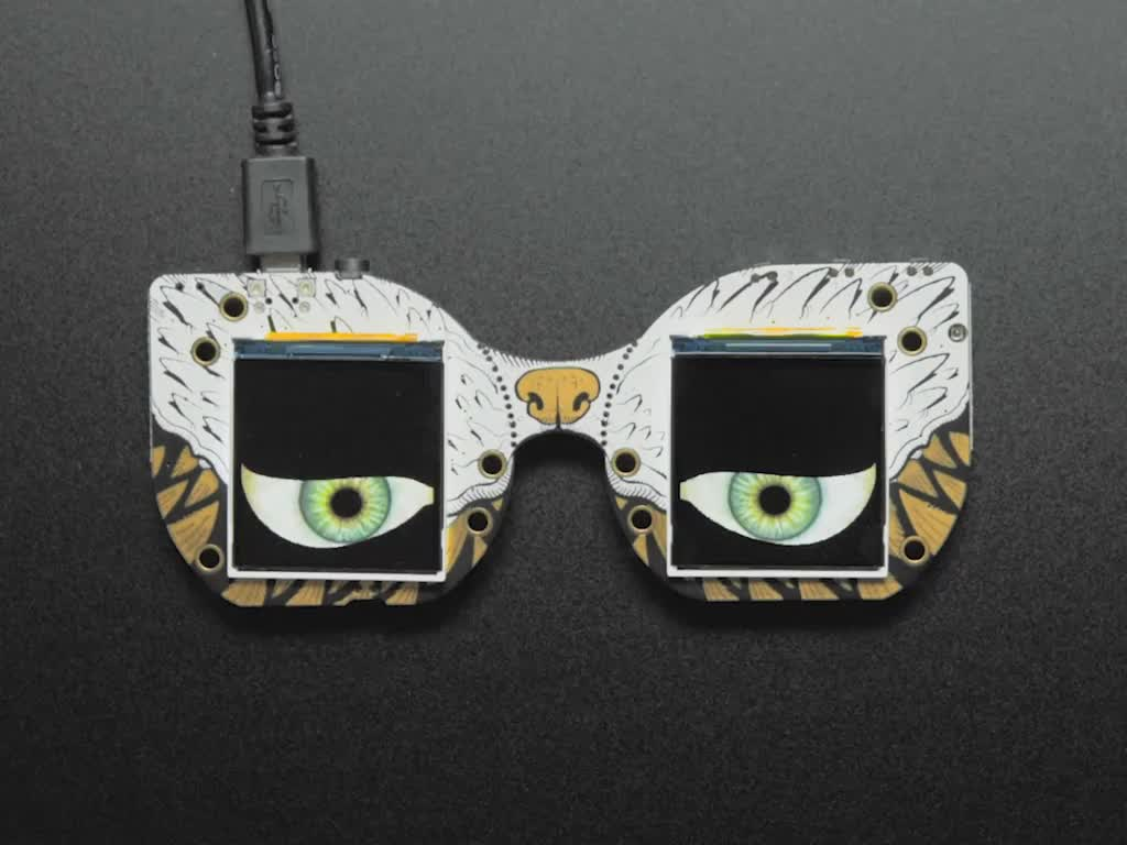 MONSTER M4SK DIY Electronic Face mask.  Two Screens Display Eyes that blink and dart up and down.