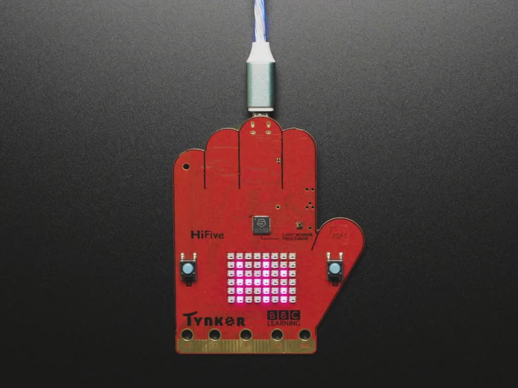 BBC Doctor Who HiFive Inventor board with text scrolling on front display